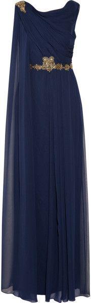 Notte By Marchesa Draped Embellished Silkchiffon Gown - Lyst       jaglady