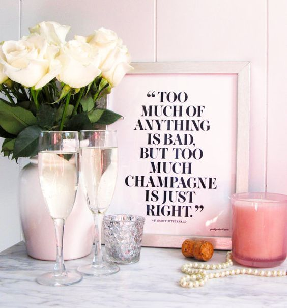 Too Much Champagne is Just Right Print Bar Cart Art by prettychicsf: