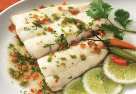 Recipe: Pla Neung Ma Now (Steamed White Fish in Lime Sauce)