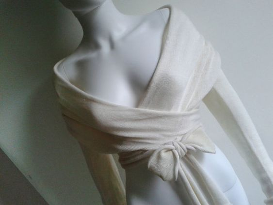 Ballerina Wrap Sweater Wedding Light Knit Wrap Cream by LenaFelice