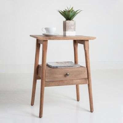 Sand Stable Kiara Solid Wood End Table With Storage Wood End Tables Side Tables Bedroom End Tables With Drawers Wood end table with storage