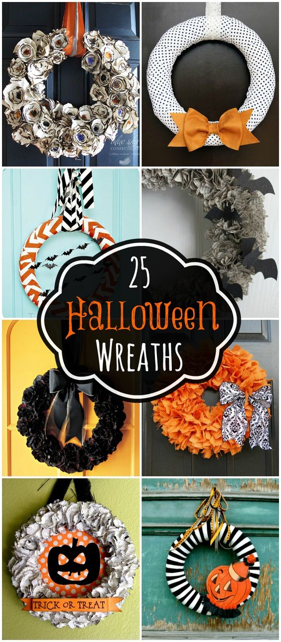 A collection of 25 Halloween wreaths to inspire you for your Halloween decor! { lilluna.com }: