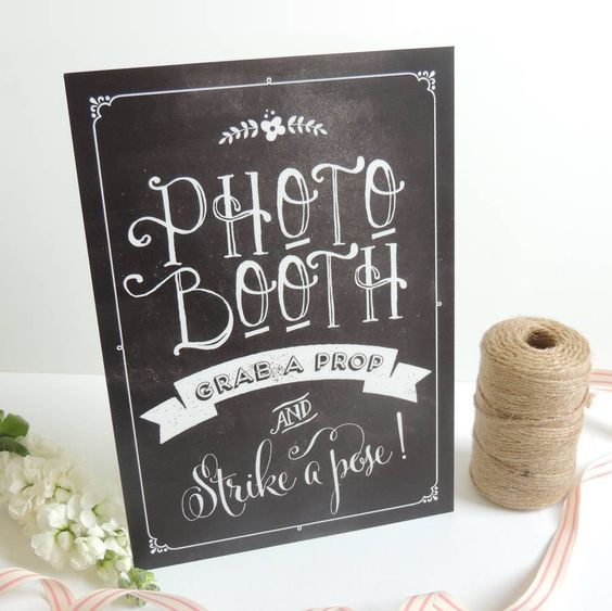 chalkboard style wedding photo booth sign by project pretty   notonthehighstreet.com