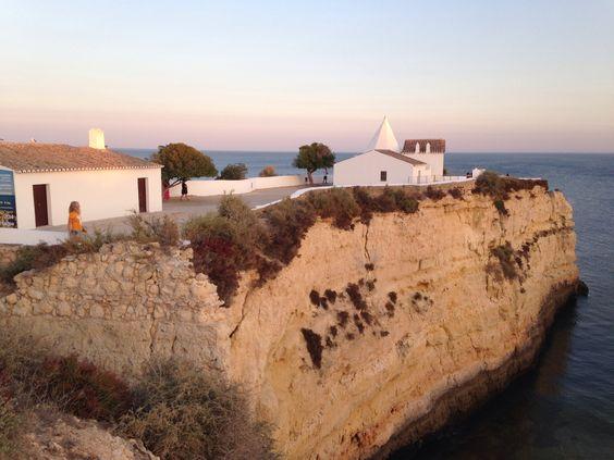 Sunset at chapel at Porches, Portugal