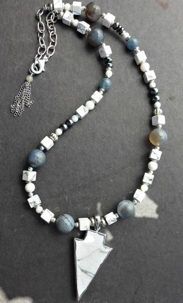 Grey, white, black stone, glass and silver metal necklace with tassel.  Bohemian jewelry. -  - McKee Jewelry Designs - 1