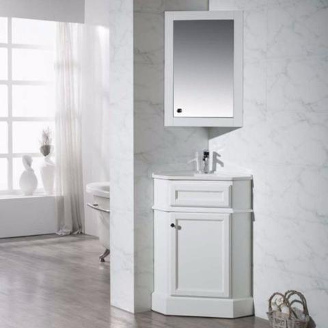 Stufurhome 27 Hampton White Corner Bathroom Vanity With Medicine Cabinet Ty 415pw Bath Van Corner Bathroom Vanity Bathroom Solutions Space Saving Bathroom