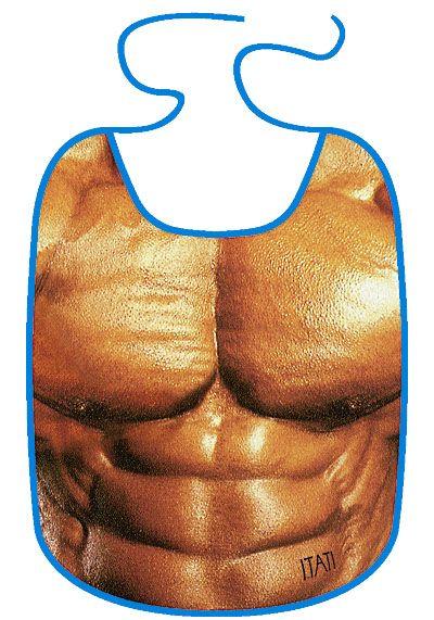 Lustiger Kleckerschutz für Männer :-) http://www.itati-shop.de/produkte/laetzchen/342/erwachsenen-laetzchen-kleckerschutz-macho-sixpack