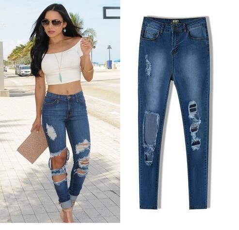 Women Ripped Jeans Elastic Waist Hole Jeans Skinny High Waist Pantalones Cotton Vaqueros Mujer Tight Pencil Jeans Ljy4 From Xinying2016, $24.93 | Dhgate.Com