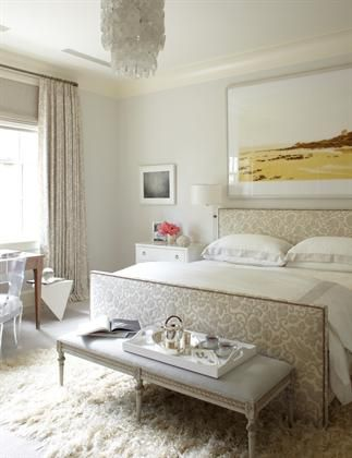 Floral upholstered bed + matching drapes. In love with this light, airy bedroom