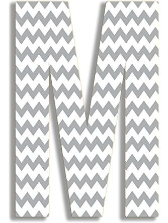 The Stupell Home Decor Collection Gray Chevron Hanging Wall Initial, 18-Inch, M ❤ The Stupell Home Decor Collection