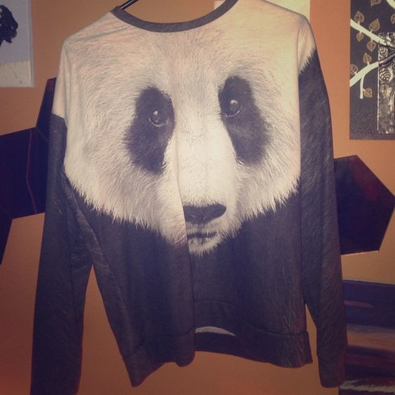 Panda bear sweater In great condition and is not a perfect fit but is a big longer! Forever 21 Sweaters