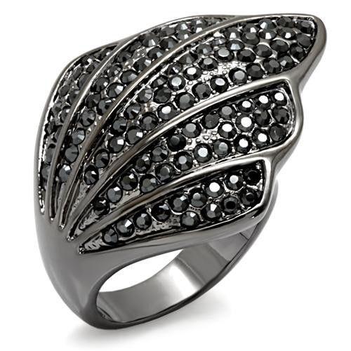 Cobalt Black Angel Wing Cocktail Ring Dark Swarovski Crystal Size 9 10 USSeller #Cocktail