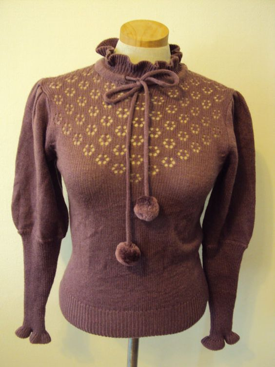Vintage Lavender Pom Pom Pixie Ruffle Sweater by nanapatproject, $22.00