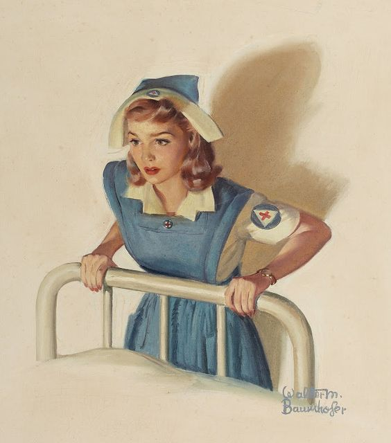 A vintage Red Cross nurse - by Walter Martin Baumhofer …