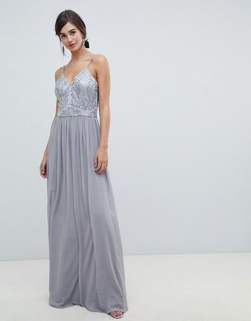 Chi Chi London Tall Cami Strap Embellished Maxi Dress In