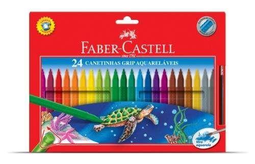 faber-castell canetinhas grip aquarelaveis - 24 cores