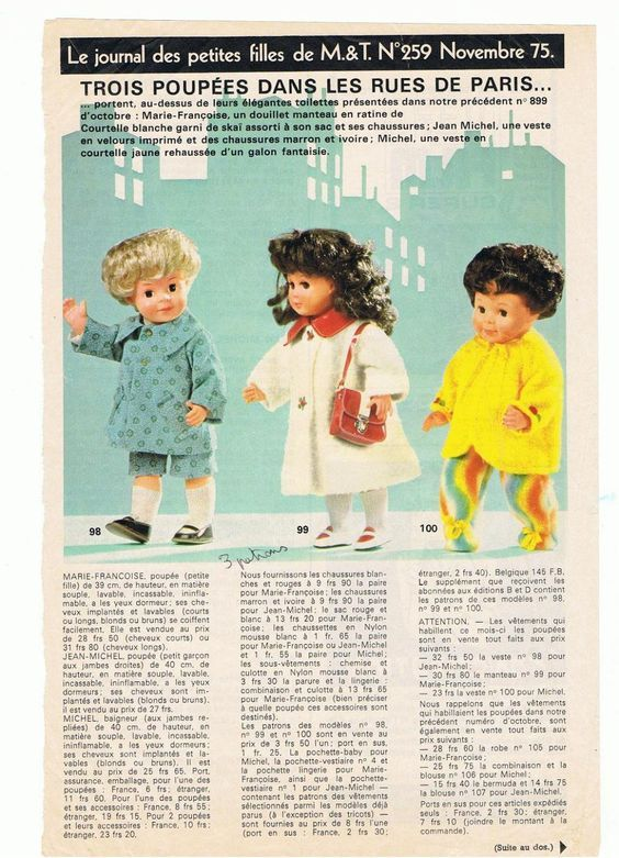 Par Amour Des Poupees M T 1975 11 Des Poupees Dans Les Rues De Paris Modes Et Travaux Poupee Poupees Anciennes