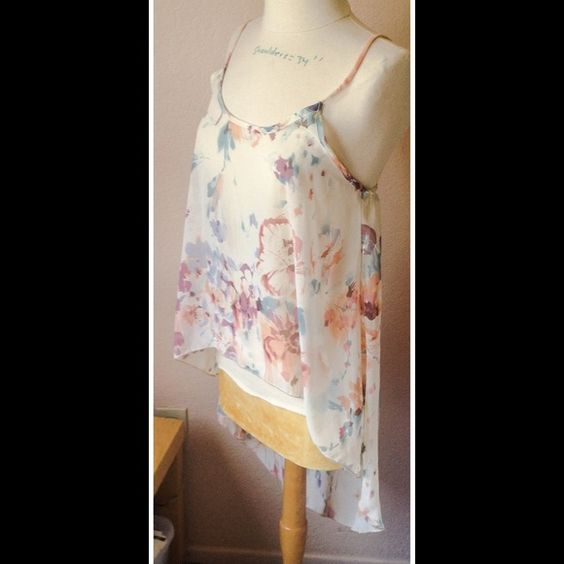 Sheer top/High and low New cute floral top with high and low, adjustable straps. Junior size. Brand new, NO DISCOUNT,FINAL SALE Tops