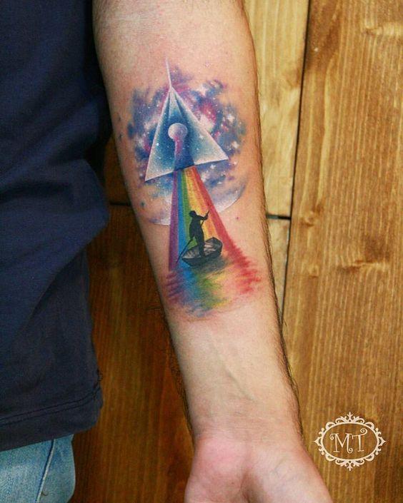 Dark side of the moon, Tattoo by Melek Taştekin #tattoo #tattoos #tattooed #tattooist #tattooing #tattooer #tats #tatu #ink #inked #darksideofthemoon #pinkfloyd #pinkfloydtattoo #colortattoo #tattooart #tattooartist #melektastekin #art #artwork #spacetattoo #dovme #dovmeankara #armtattoo #instatattoo #instagood #rainbow #rainbowtattoo #tatto #tatts
