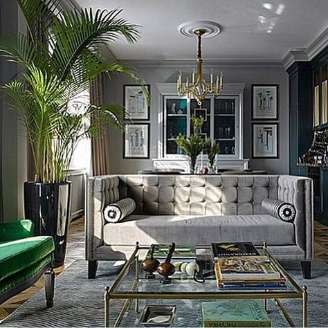 Glam Living Room With Modern Grey Couch And Green Accents Luxury Living Room Glam Living Room Living Room Decor Gray