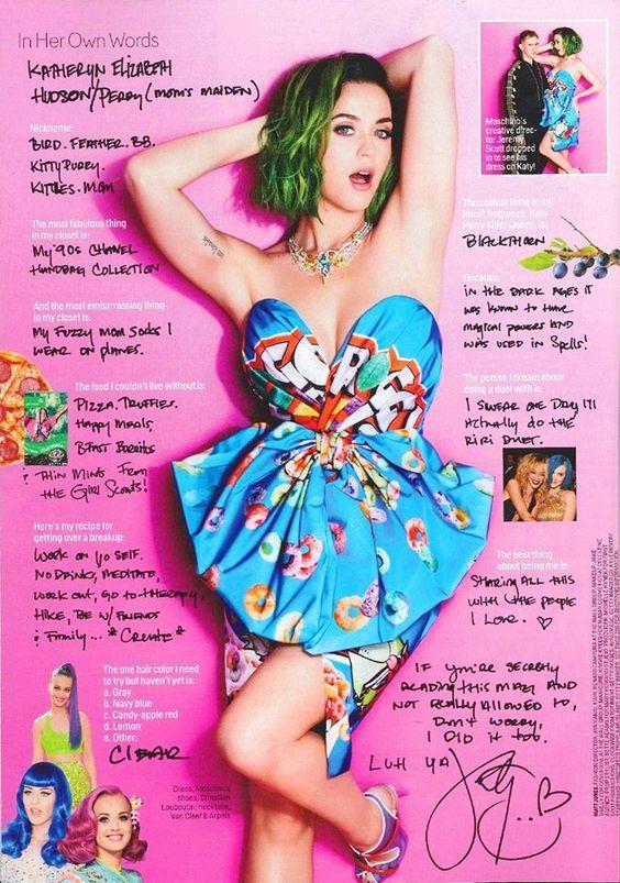 Katy Perry wearing Moschino F/W14 by Jeremy SCOTT on Cosmopolitan Magazine!