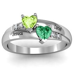 Double Heart Gemstone Couples Ring with Accents #jewlr  I want this!!!