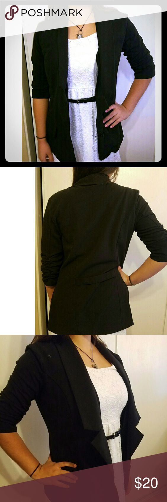 """Black Blazer Casual Black one button blazer with ruched elbow details. Very cute and light to be worn with various outfits. Model measurements 5'6"""" 35-26-36 Jackets & Coats Blazers"""