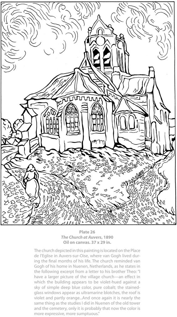vincent van gogh coloring pages - welcome to dover publications kr sojam s lapas