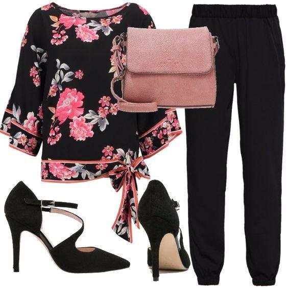 Meravigliosa+blusa+in+fantasia+floreale+ingentilita+da+fiocco+sull'orlo+che+la+rende+molto+romantica,+l'ho+abbinata+a+dei+pantaloni+neri+con+elastico+alla+caviglia,+a+delle+décolleté+e+per+completare+il+look+ad+una+borsa+piccola+a+tracolla.