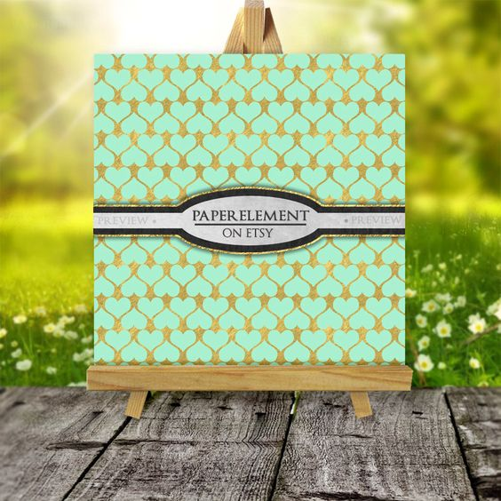 Papel Scrapbook para imprimir de menta y oro: oro por PaperElement
