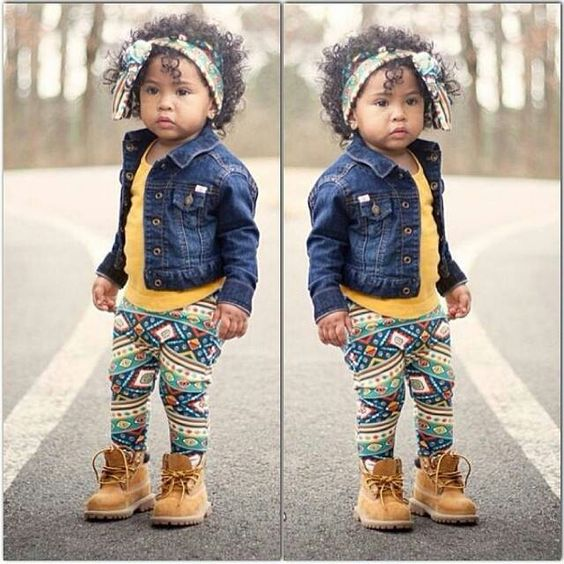 Jean jacket, printed leggings and toddler timberlands