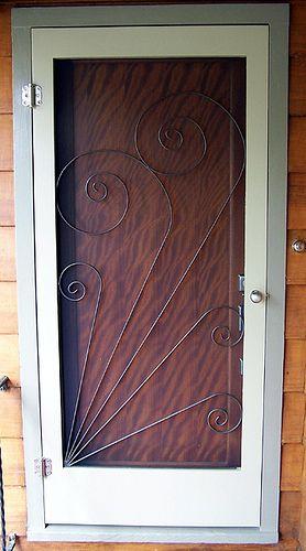 Vintage style screen door insert crafts pinterest for Exterior doors with screen insert