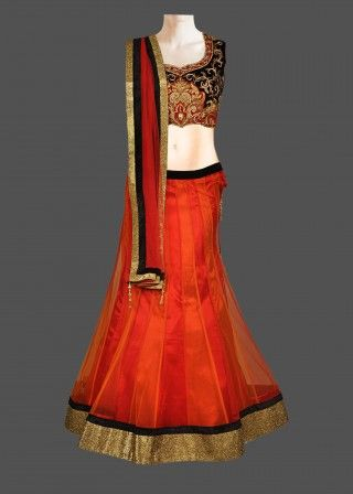 Featuring this beautiful orange & red shaded lehenga in our wide range of Lehengas. Grab yourself one Now!