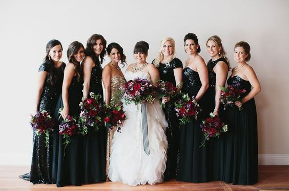 Glamorous bridesmaids in sparkly black dresses 30 Beautiful Little (and Long) Black Dresses Perfect For Bridesmaids