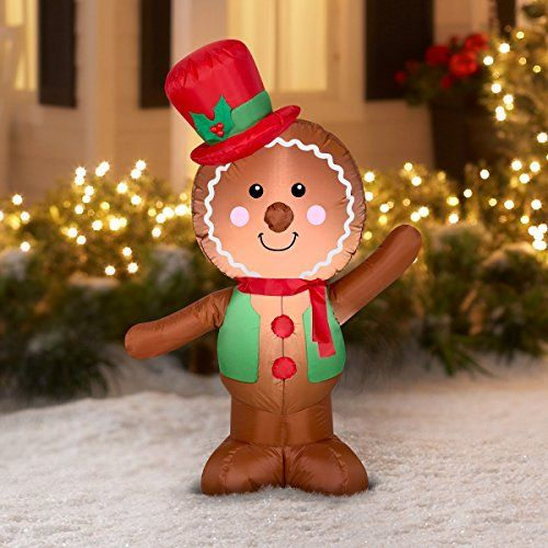 Holiday Time Christmas Inflatable Led Gingerbread Man A Inflatable Christmas Decorations Outdoor Christmas Decorations Inflatable Christmas Decorations Outdoor