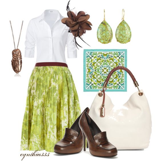 """""""Apple Green"""" by cynthia335 on Polyvore- Different... not sure if I like it or love it but I do love the colors & the flowy skirt"""