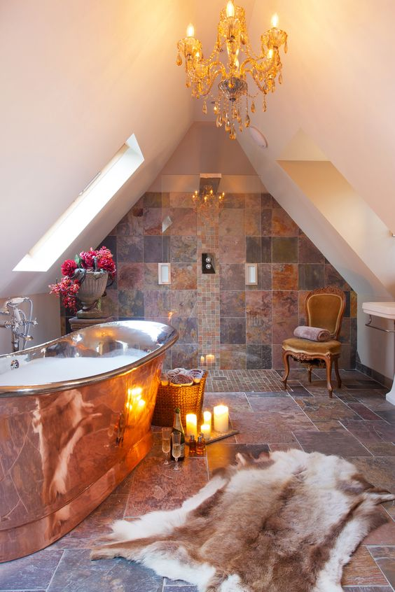 William Holland Copper bath, beautifully set against a natural slate interior…