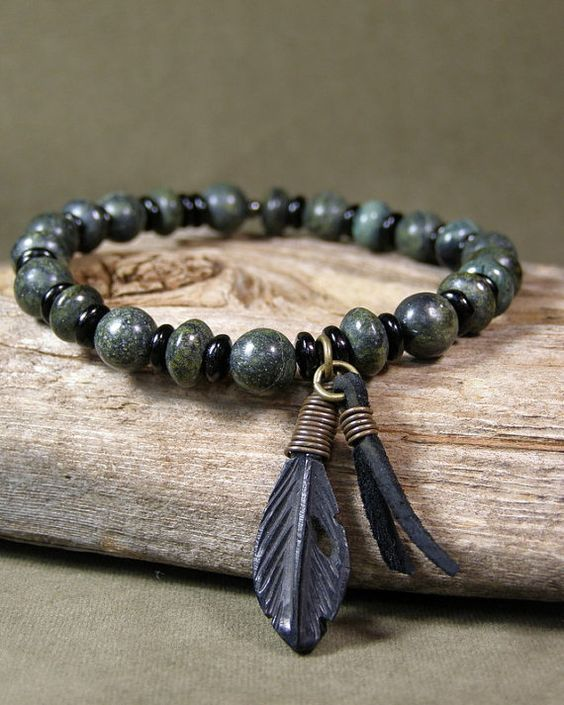 Mens Native American Beads: Bracelet For Men, Mens Beaded Bracelet, Green Stone
