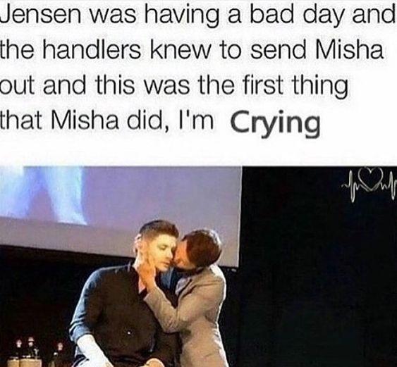 Misha Collins and Jensen Ackles I love you Misha