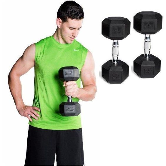 Dumbbell Set Hand Weights 2X 20Lb Cast iron Rubber coating Bodybuilding workout #CAPBarbell