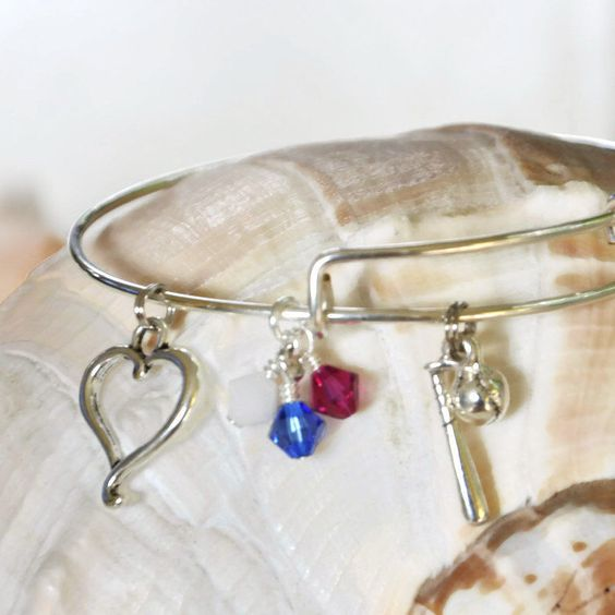 Expandable Alex and Ani type bracelet with Softball and bat, Red, White and Blue Swarovski Crystals and a Heart by SeaglassI on Etsy https://www.etsy.com/listing/195267808/expandable-alex-and-ani-type-bracelet