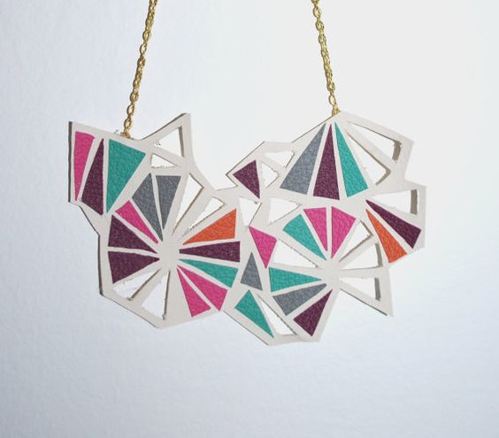 Geometric leather necklace colorful pastels by GeometricLOVE, $30.00