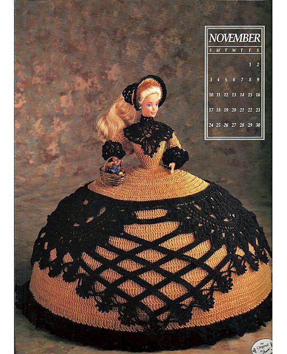 Miss November 1991 Annies Calendar Bed Doll Society  Fashion Doll  Crochet Pattern  Annies Attic 7411.