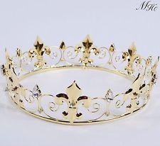 Imperial Medieval Gold Men's Full Crown Rhinestone Bridal Wedding Tiara Art Deco