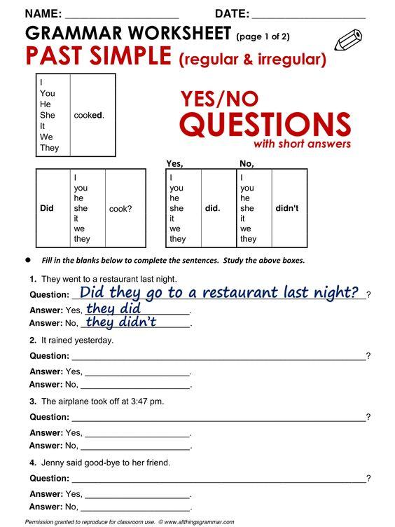 past tense questions grammar exercises english grammar : Simple Past ...