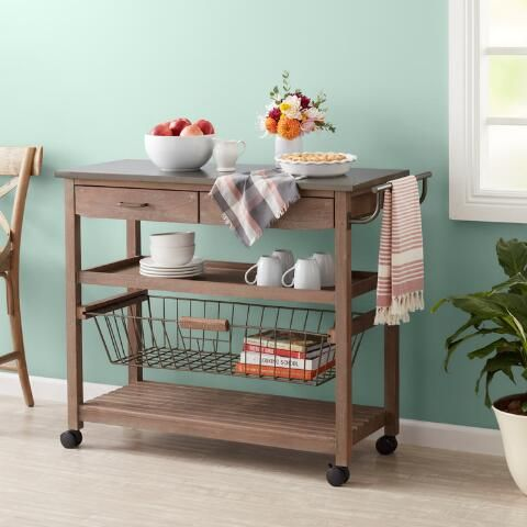 Mango Wood And Steel Maximos Kitchen Cart World Market Kitchen Cart Wood And Steel Cart Furniture