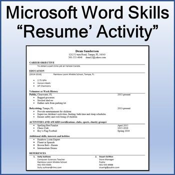 Microsoft Word Skills Resume Lesson By Techcheck Lessons Tpt Word Skills Resume Skills Education Skills