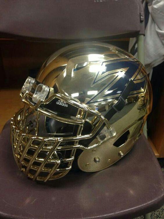 Football Helmet Chrome : Akron zips gold chrome helmets football
