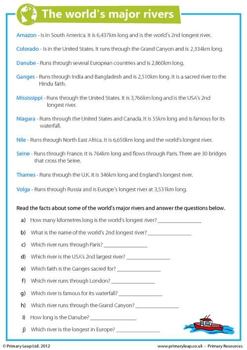 Worksheets World Geographic Features Worksheet Answers year 6 interesting facts about and worksheets on pinterest this geography worksheet includes some of the worlds major rivers
