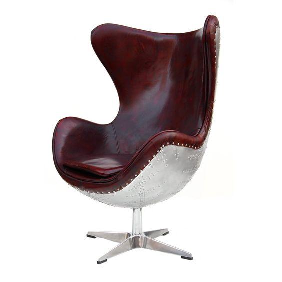 Echtleder Vintage Alu Sessel Aviator Ledersessel Drehsessel Schwingsessel Design Lounge Egg Chair Clubsessel Sofa Möbel NEU 438